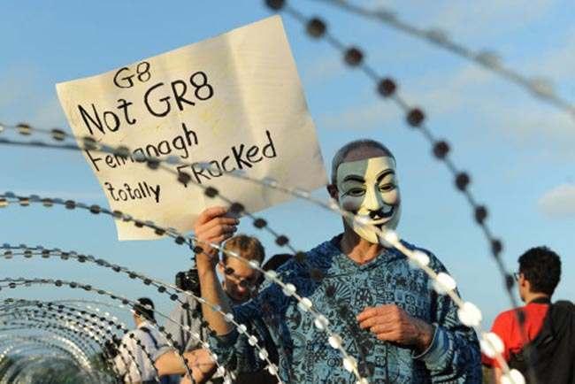 G8 protestors at the security corden around Loch Erne, Enniskillen.