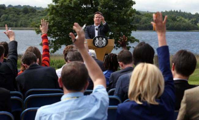 Prime Minister David Cameron holds a press conference at the end of this year's G8 Summit on Lough Erne near Enniskillen in Northern Ireland.