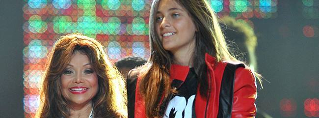 Michael Jackson's sister Latoya Jackson with his children Blanket (left) and Paris, at the Michael Forever Tribute Concert at the Millennium Stadium, Cardiff.