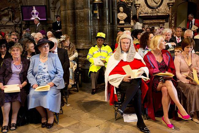 The congregation as they attend a service at Westminster Abbey in central London to mark the 60th anniversary of the Queen's coronation.
