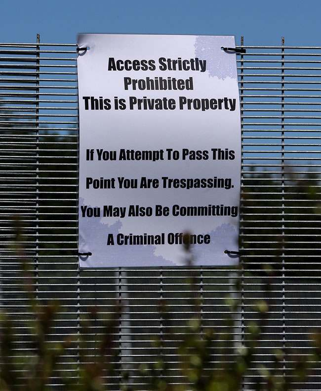 Sign on the security fence near Lough Erne Hotel resort in Co Fermanagh, venue for next weeks G8 summit.