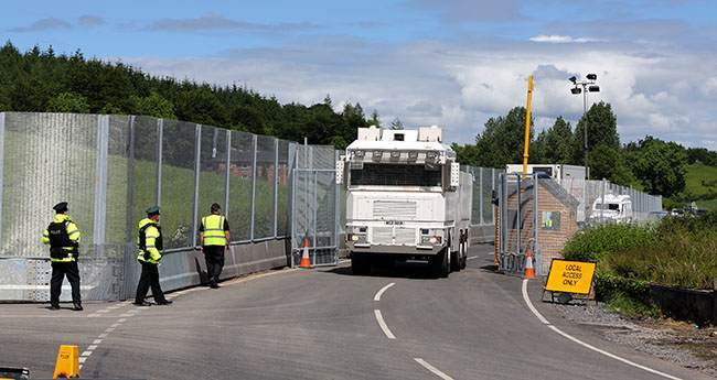 A Water cannon at the main checkpoint and security fence near Lough Erne Hotel resort in Co Fermanagh, venue for next weeks G8 summit.