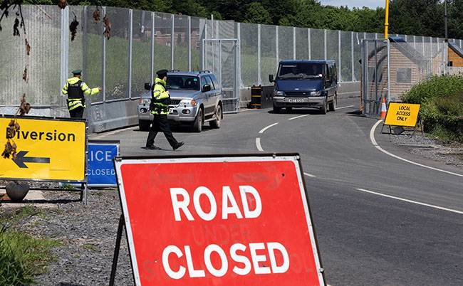 Main checkpoint and security fence near Lough Erne Hotel resort in Co Fermanagh, venue for next weeks G8 summit.