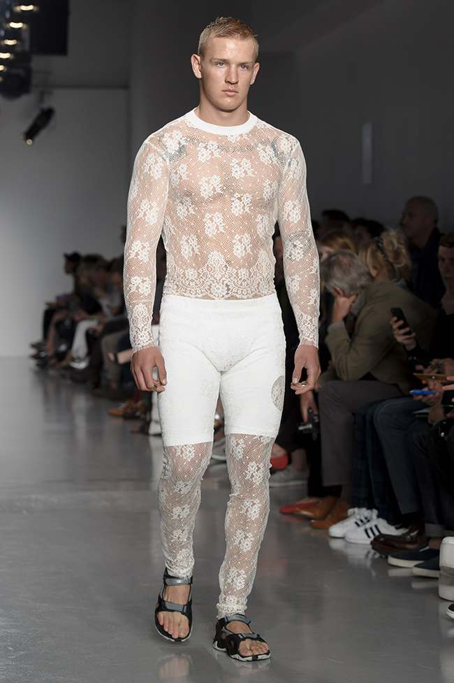 A model wears a design from the Astrid Andersen collection during London Collections: Men SS14, Sunday, June. 16, 2013, in London (Photo by Jonathan Short/Invision/AP)