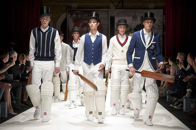 Models on the catwalk at the Hackett fashion show, held at Old Billingsgate Market during London Collections: Men.
