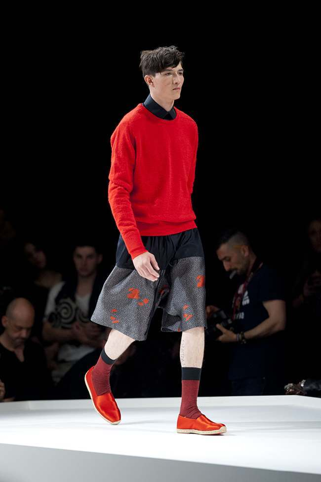 A model on the catwalk at the E. Tautz fashion show, held at the Old Sorting Office venue during London Collections: Men.