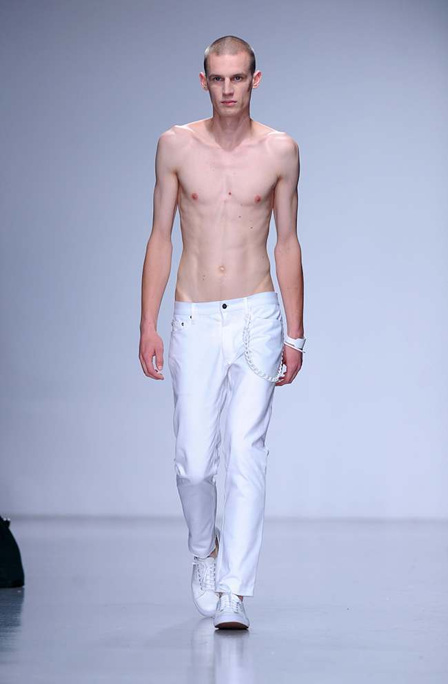 A model on the catwalk at the Matthew Miller fashion show, held at the Victoria House venue during London Collections: Men.