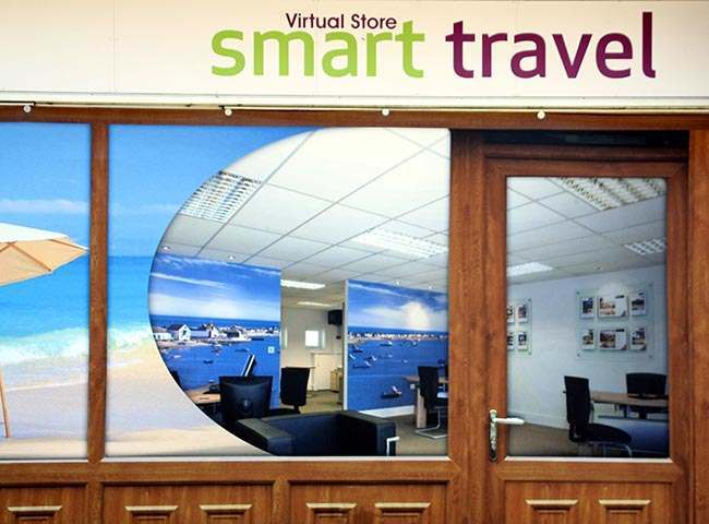 The 'Smart Travel' outlet at Coronation Square shopping centre in Hester's Way, Cheltenham as the owners of a struggling shopping centre have given it a new lease of life, by filling empty lots with fake shops.