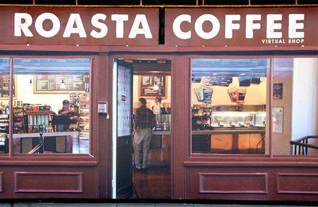 A 'Roasta Coffee' outlet at Coronation Square shopping centre in Hester's Way, Cheltenham as the owners of a struggling shopping centre have given it a new lease of life, by filling empty lots with fake shops.
