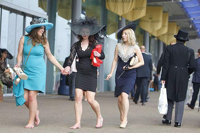 Guests leave at the end of Ladies' Day at Royal Ascot.