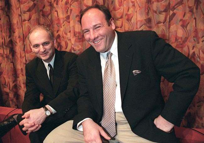 "** ADVANCE FOR FRIDAY, JUNE 8 **FILE**Actor James Gandolfini, right, and David Chase, creator of the HBO television series ""The Sopranos,"" pose together after a panel discussion at the Writers Guild in Beverly Hills, Calif., March 31, 1999. Gandolfini portrays New Jersey mob boss Tony Soprano in the series, which concludes in June 2007. (AP Photo/Jill Connelly)"