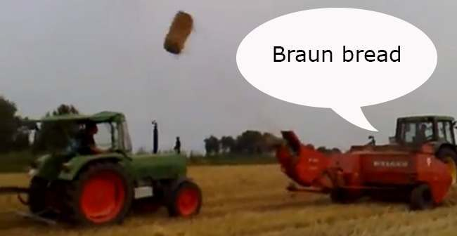 Wernher von Braun German farmers collect straw bales in the style of Wernher von Braun (video)
