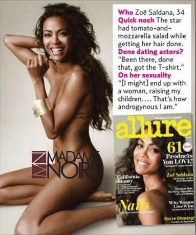 Zoe Saldana Allure Cover Zoe Saldana will hire a female nanny