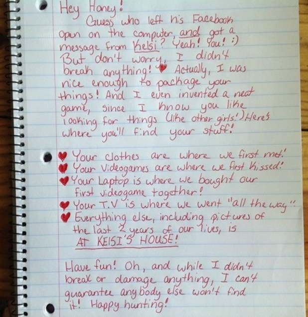 breakup letter Woman invents this vengeful game to dump cheating boyfriend!