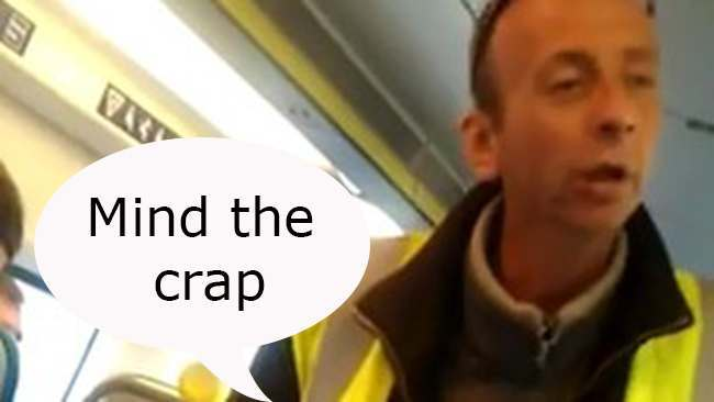 brighton train racist copy Brighton train racist: bigots now wearing high visibility jackets (video)