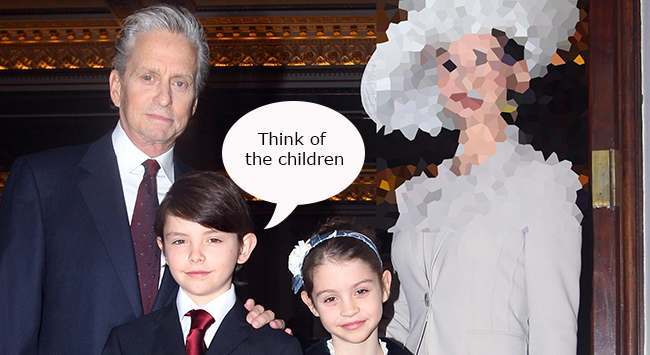 Hollywood actress Catherine Zeta Jones and her husband Michael Douglas, with their children Dylan and Carys, arrive at Buckingham Palace in London where she will be made a CBE by the Prince of Wales.