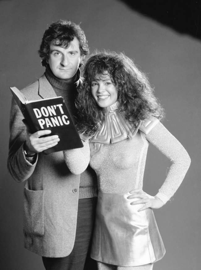 doulgas adams 1978: Douglas Adams hitches a lift with glamour model Sheree Boyland