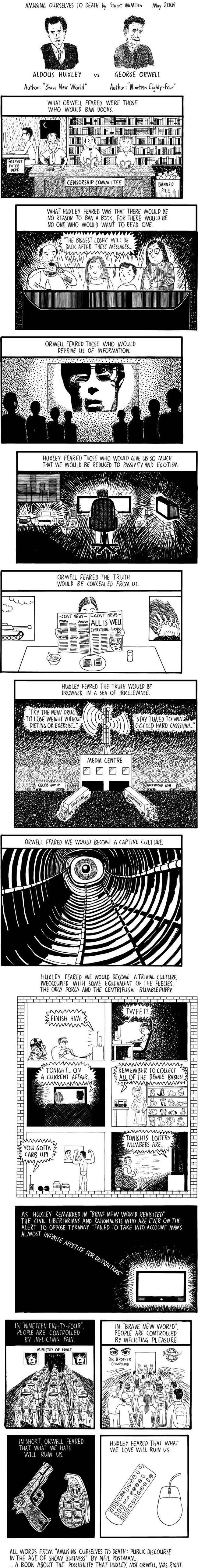 huxley orwell amusing ourselves to death Huxley vs. Orwell   the comic inspired by Neil Postmans Amusing Ourselves to Death