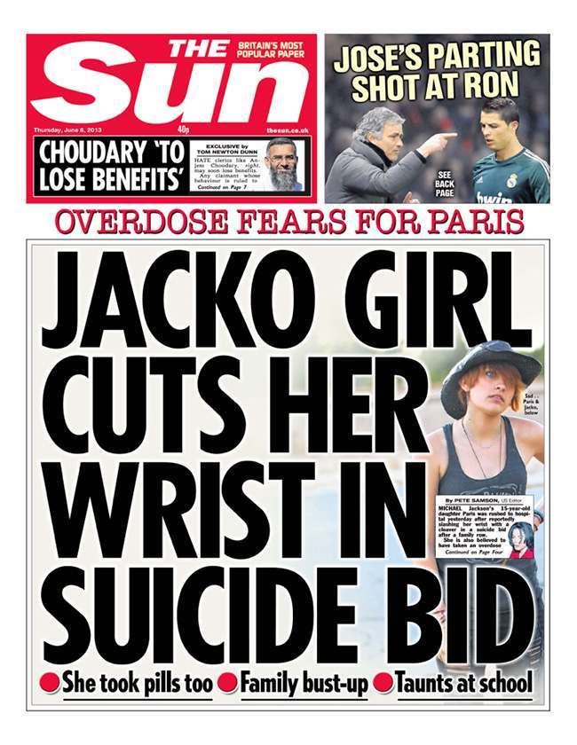 paris jackson Paris Jackson: Sun agony aunt wants Michel Jacksons suicidal daughter kept out of public eye   Sun splashes her on front page