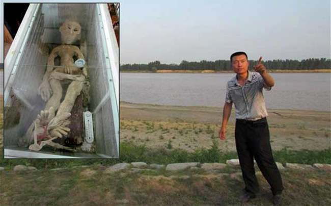 rubber chinese alien Farmer arrested for this dead alien in his freezer