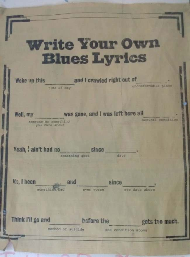 write your own blues song