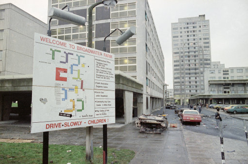 Wreckage strewn streets of Broadwater Farm Estate, Tottenham, London in 1985, bear witness to events of the previous night when rioting mobs battled with police in violent action that caused the death of one policeman and injury to several others. (AP Photo)