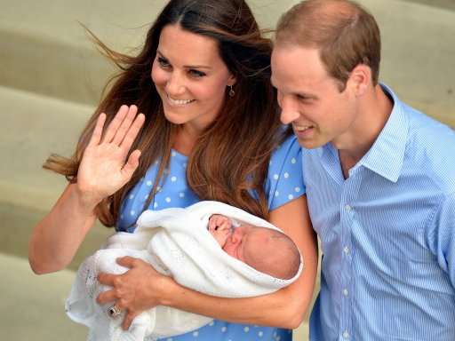 Safe in the hands of the Duchess of Cambridge, the Royal couple and their son who was born yesterday, leave the Lindo Wing of St Mary's Hospital in west London.