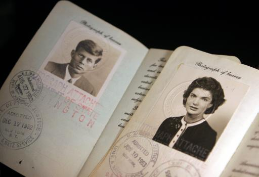 Passports issued in the 1950s to John F. Kennedy and Jacqueline Bouvier Kennedy are seen in this photo taken Wednesday, Nov. 2, 2005, in New York. The passports are among the nearly 2,000 lots in a massive collection of Kennedy memorabilia to be sold by Guernsey's auction house in New York Dec. 13-17. (AP Photo/Aaron Jackson)