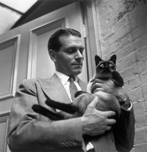 Laurence Olivier and his kitty cat called New.