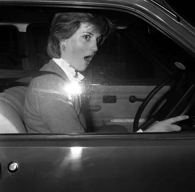 PA 1362243 1980 snapshot: Lady Diana Spencer stalls her Mini Metro outside her Earls Court flat