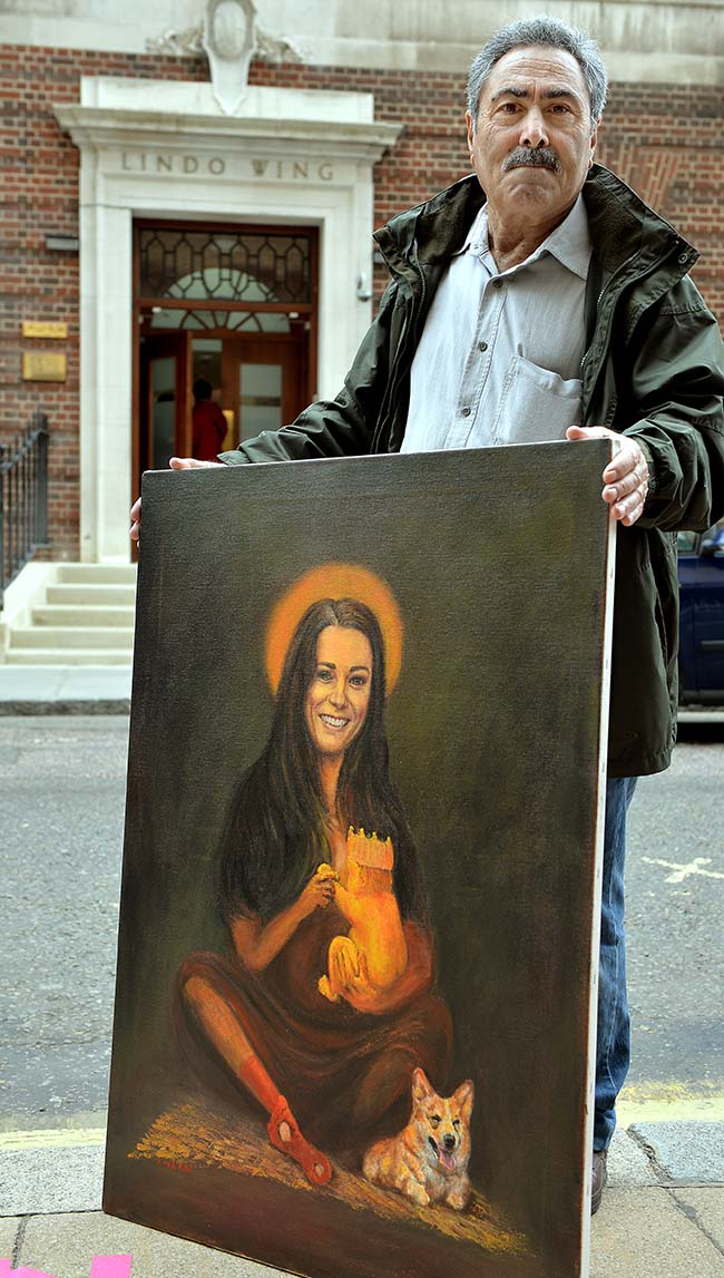 The Political Artist Kaya Mar stands with his Duchess and baby art work outside the Lindo Wing of St Mary's Hospital in Paddington, where the Duchess of Cambridge will give birth later this month, in south Wharf Road central London.