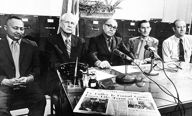 "These five members of the Clarke County Selective Service Board pose in Athens, Ga., March 30, 1971, after announcing their resignations in protest of Lt. Williams Calley's conviction at Ft. Benning, Ga. From left to right are John Nelly, Daniel B. Amaker, George H. Pugh, Roscoe Hansfort and William F. Condon. The letter of resignation said, ""We find the conviction of Lt. Calley to be unacceptable and cannot in good conscience continue to make decisions that will effect the lives and well-being of our young men."" (AP Photo)"