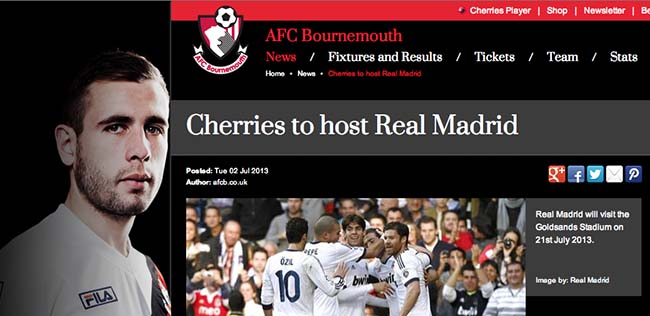 bournemouth real Bournemouth v Real Madrid is the Chairmans gift Cherries fans pay £60 for