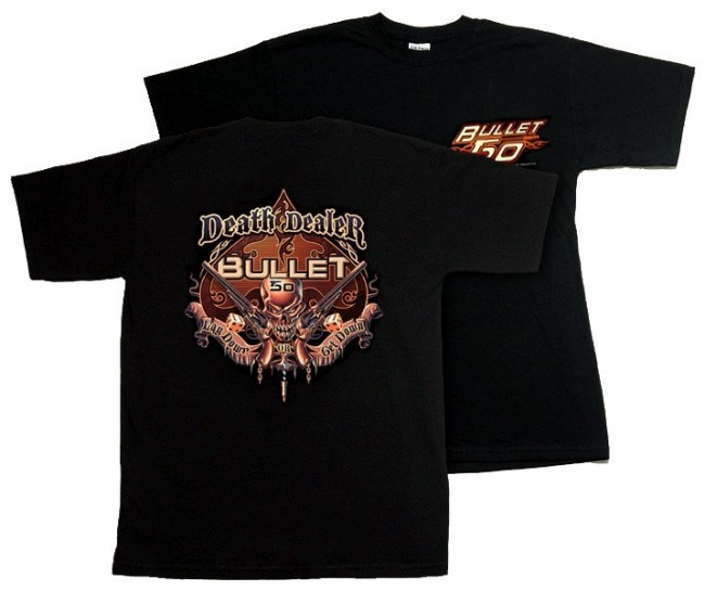 ". The police-gear retailer Bullet-50, which according to its out-of-date information page is run by San Fransisco PD officer Joseph Salazar, features shirts that label the wearer a ""death dealer,"" and a ""thug hunter."""