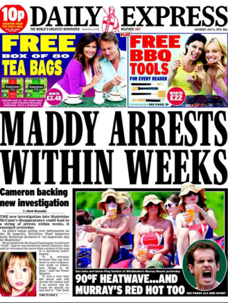 express 1 329x437 Madeleine McCann: the Daily Express spins a single thread into suspects and arrests