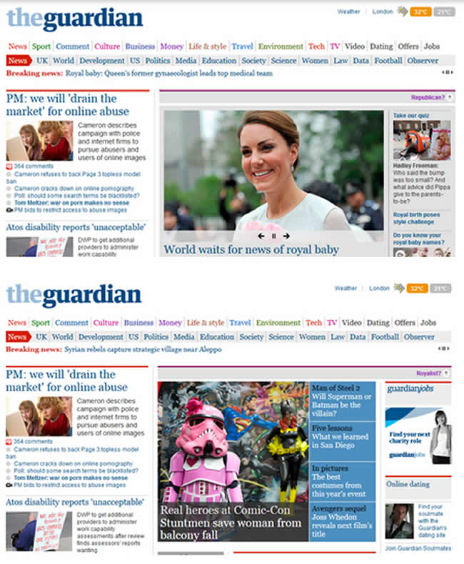 guardian royal baby The Guardians snobby Republicans replace the Royal baby news of Comic Con and 2D heroes