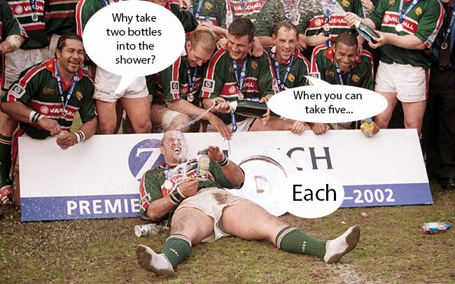 Leicester Tigers' players give teammate Perry Freshwater a champagne shower