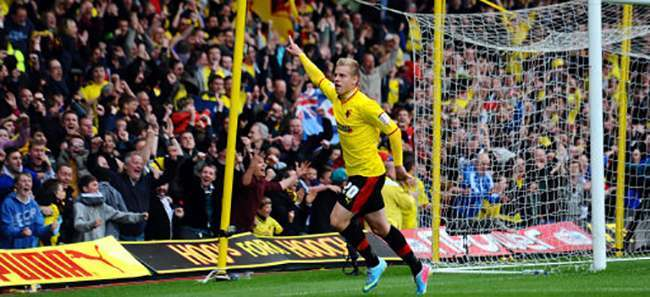 Watford's Matej Vydra celebrates his second goal of the game during the npower Football League Championship match at Vicarage Road.