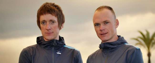 File photo dated 24/01/2013 of Team Sky riders Bradley Wiggins (left) and Chris Froome. PRESS ASSOCIATION Photo. Issue date: Saturday July 27, 2013. Sir Bradley Wiggins has revealed he could not bring himself to watch fellow Team Sky rider Chris Froome win the Tour de France and inherit the title he won in 2012. See PA story CYCLING Tour of Poland. Photo credit should read: Tim Ireland/PA Wire