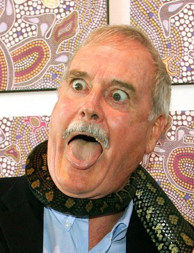 4674634 John Cleese attacks the bad press while talking to the good press
