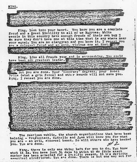 martin luther king threat In 1964 the FBI Martin Luther King this letter urging him to kill himself (photos)
