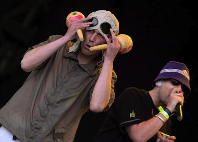 'Bez' (l) and Shaun Ryder of the band the Happy Mondays perform at Glastonbury Festival at Pilton, on the final day of the three day music event.