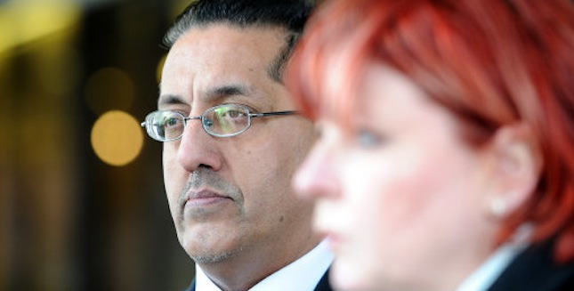 Nazir Afzal (left) Chief Crown Prosecutor for CPS North West and Detective Chief Superintendent Mary Doyle makes a statement outside Manchester Crown Court after Michael Brewer was sentenced to 6 years in prison and his ex-wife Hilary sentenced to 21 months. PRESS ASSOCIATION Photo. Picture date: Tuesday March 26, 2013. Photo credit should read: Martin Rickett/PA Wire