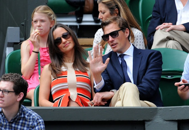Pippa Middleton and Nico Jackson watch on Centre Court during day eleven of the Wimbledon Championships at The All England Lawn Tennis and Croquet Club, Wimbledon.