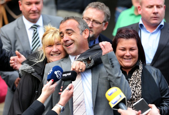 Coronation Street actor Michael Le Vell hugged by his sister Sue outside Manchester Crown Court after he was cleared of child sex offences.