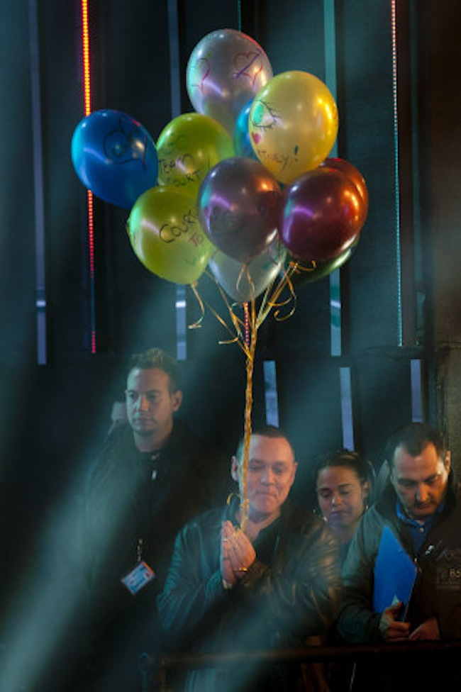 Doug Hutchison with Courtney Stodden balloons at the Big Brother eviction at Elstree Studios  in Hertfordshire