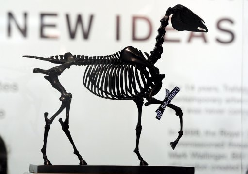 Gift Horse by artist Hans Haacke which is one of six new proposals for the fourth plinth in Trafalgar Square which are being exhibited in the crypt of St Martin-in-the-Fields Church, central London, from tomorrow.