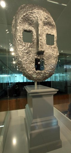 The Moon Mask by artist Ugo Rondinone which is one of six new proposals for the fourth plinth in Trafalgar Square which are being exhibited in the crypt of St Martin-in-the-Fields Church, central London, from tomorrow.