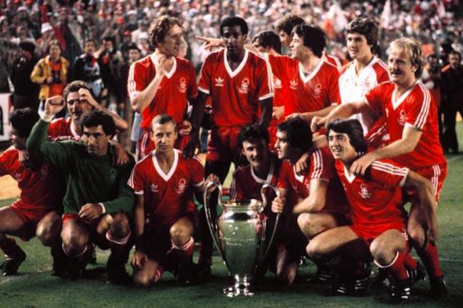 Nottingham Forest celebrate with the European Cup :(back row, l-r) Martin O'Neill, Ian Bowyer, Viv Anderson, John Robertson, Gary Mills, Kenny Burns  (front row, l-r) Frank Gray, Peter Shilton, John McGovern, Garry Birtles, Larry Lloyd, Bryn Gunn