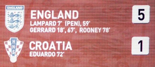 General view of the scoreboard showing the final score England 5 Croatia 1